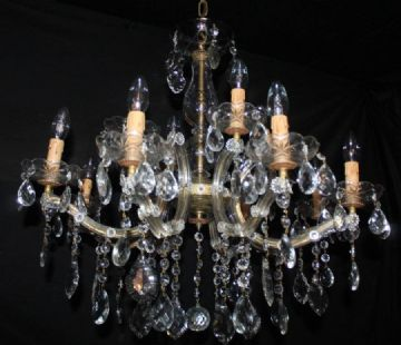 VINTAGE MARIE THERESE CHANDELIER,   LARGE GLASS CLAD CEILING LIGHT - Ref: ANV10